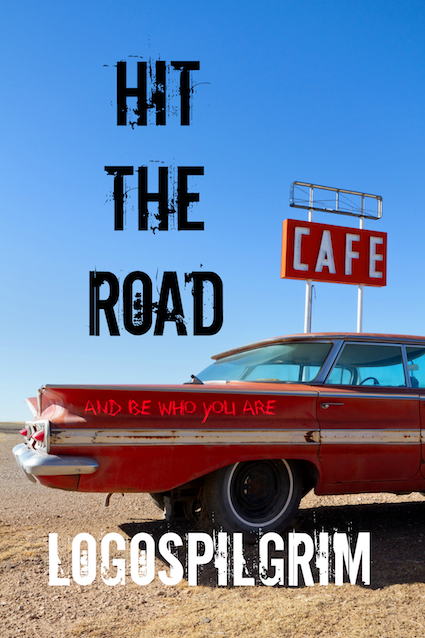 Cafe Sign and Old Car on Route 66